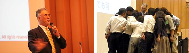 全国国立大学付属学校園PTA連合研修大会の様子を写した2枚の横並びの写真