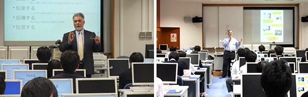 千葉県立柏の葉高等学校情報理数科1年生を対象にした特別授業の様子を写した2枚の横並びの写真