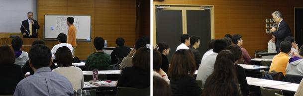 沖縄銀行の土曜講座「課題発見力セミナー」の様子を写した横並びの2枚の写真