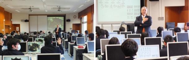 千葉県立柏の葉高等学校での特別授業の様子を写した横並びの2枚の写真